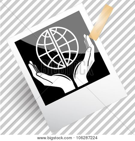 protection world. Photoframe. Vector icon.