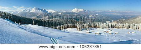 Morning Winter Mountain Panorama Landscape