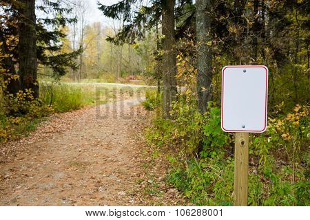 Blank Sign Next To Winding Path