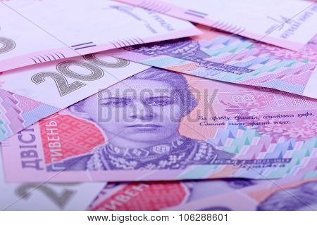 european Ukrainian money close up, business concept