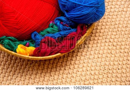 Thread In A Basket And Thread Balls