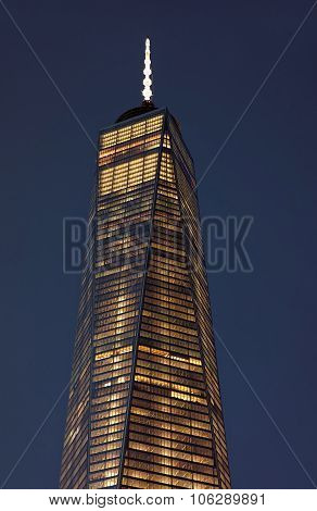 Close Up Of Top Facade Of Freedom Tower In Lower Manhattan