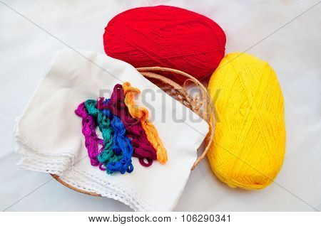Thread In A Basket And Thread Ball