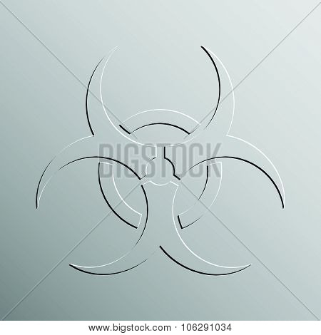 Biohazard sign embossed