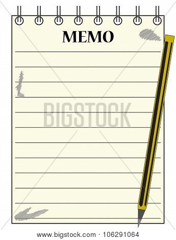 Lined Memo Notepad With Pencil