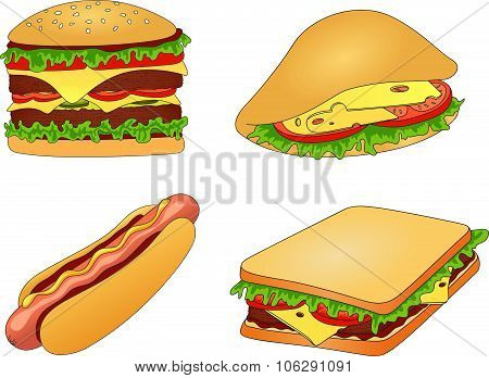 Hamburger, Hot Dog, Sandwich And Pitta With Cheese, Tomato, Meat And Salad Unpainted. Fast Food