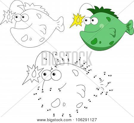 Cartoon Smiling Angler Fish. Vector Illustration. Dot To Dot Game For Kids