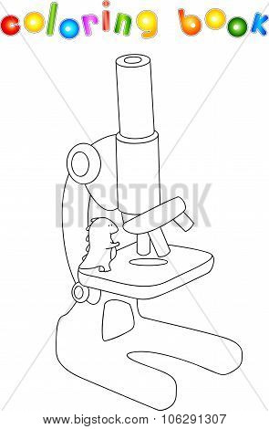 Dragon With Microscope. Educational Coloring Book For Kids About Science