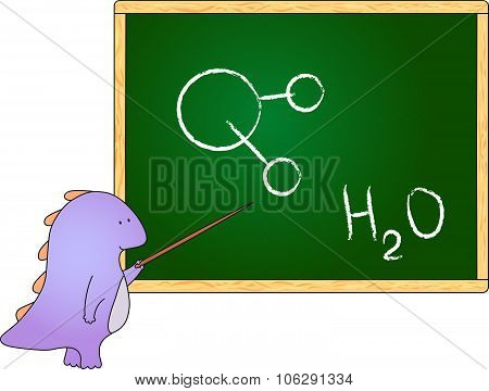 Dragon With Pointer At The School Board With Chemical Formula For Water