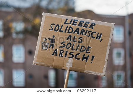 Heidelberg, Germany - October 24, 2015 - Counterdemonstration Ag