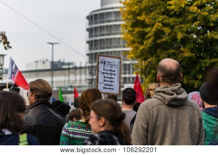 Heidelberg Germany - October 24 2015 - Counterdemonstration against radicals of the right wing