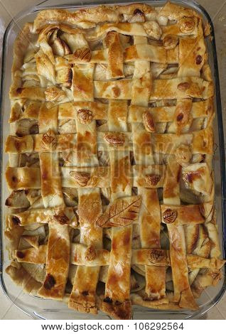 Apple cobbler with lattice crust, closeup
