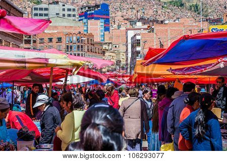 La Paz, Bolivia - Circa March 2015 - Local Market In La Paz
