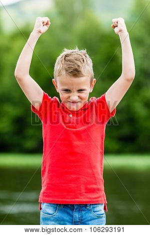 Kid With Raised Hands