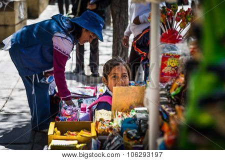 La Paz, Bolivia - Circa March 2015 - Girl In The Streets Of La P