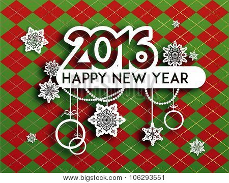 Happy new year background with holiday decoration. Design for card, banner, invitation, leaflet and so on.