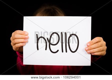 Child Holding Hello Sign