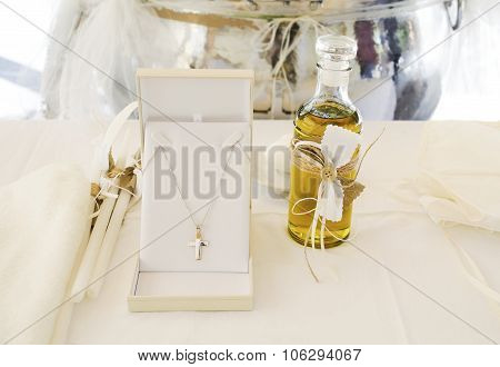 Orthodox Christening oil and cross