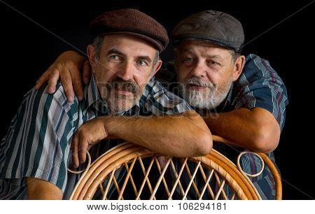 Portrait of two mature Ukrainian peasant