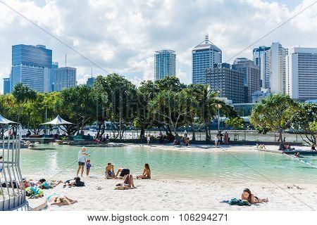 Brisbane, Australia - Circa May 2014 - Brisbane City Beach On Th
