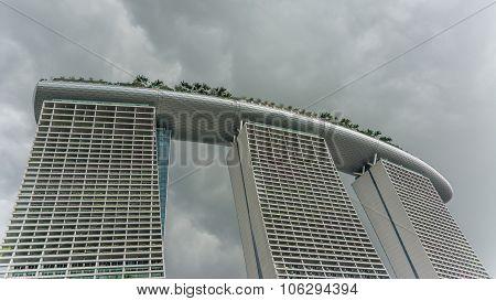 Singapore, Singapore - Circa June 2014 - Big Clouds Over Marina