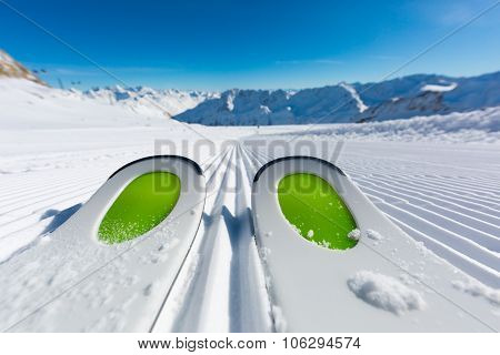 Skis On Ski Slope