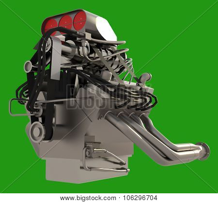 Car engine. Concept of modern car engine isolated on green background.