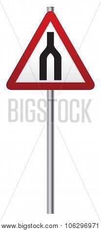 Roads Merge Ahead Signpost