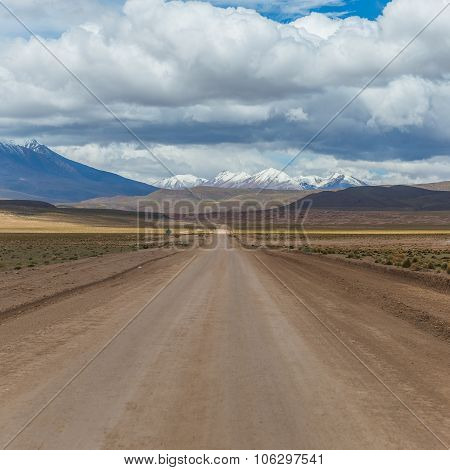 Road In The Middle Of The Bolivian Altiplano