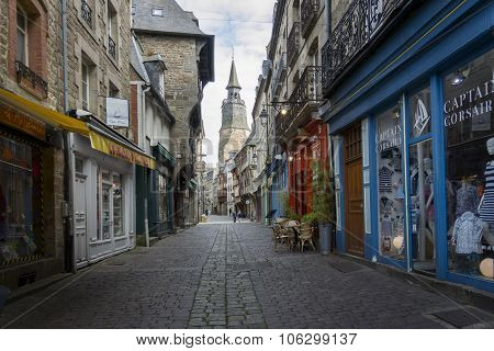 Medieval Shopping Centre Of Dinan, Brittany, France
