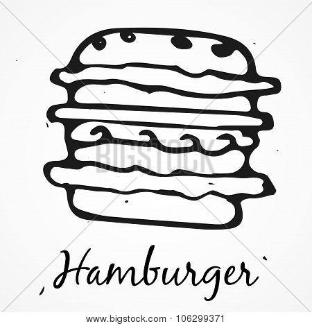 Vector Hamburger Hand Drawn