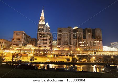 Architecture Along Cuyahoga River In Cleveland