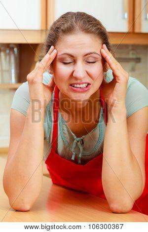 Woman Suffering From Headache Migraine Pain.