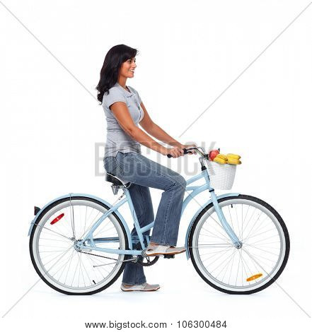 Young asian woman with bicycle isolated white background.