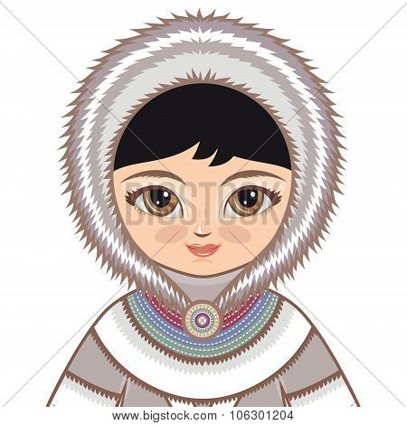 The girl in Eskimo dress. Historical clothes. The Far North. Colorful drawing on a white background
