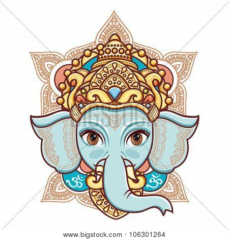 Hindu elephant head God Lord Ganesh. Hinduism. Happy Ganesh Chaturthi. Vector elements isolated. Han