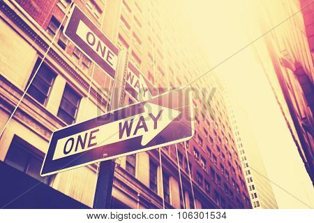Vintage Style Photo Of The One Way Signs In Manhattan, Nyc.
