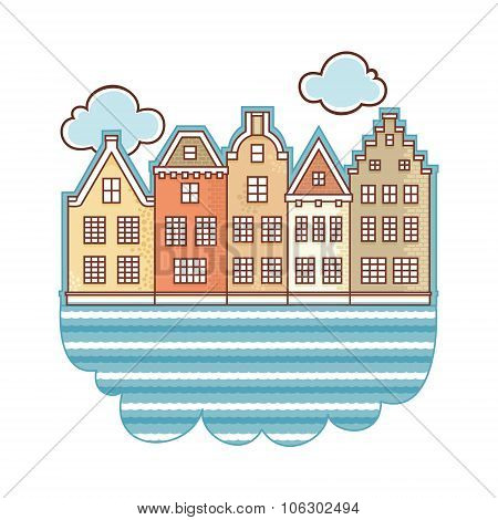 Netherlands. Layout for souvenirs. Greeting card. Vector drawing on white background. Isolated image