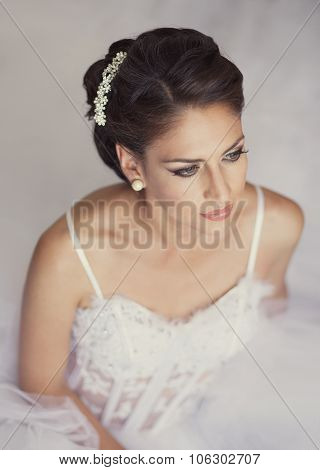 Portrait Of Beautiful Bride. Wedding Dress And Decoration