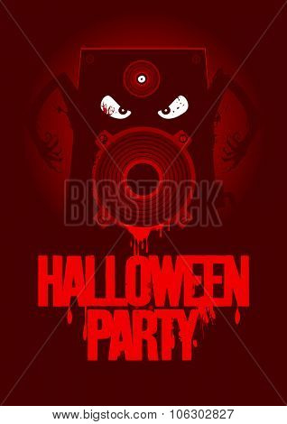Halloween party design with wicked bloody speaker, rasterized version.