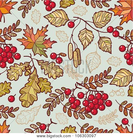 Autumn leaves. Seamless pattern.