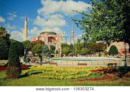 Green Area Around Hagia Sophia At Sunny Day In Turkey.