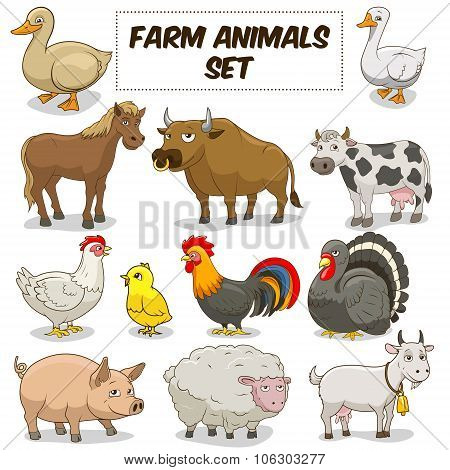 Cartoon Farm Animals Set Vector