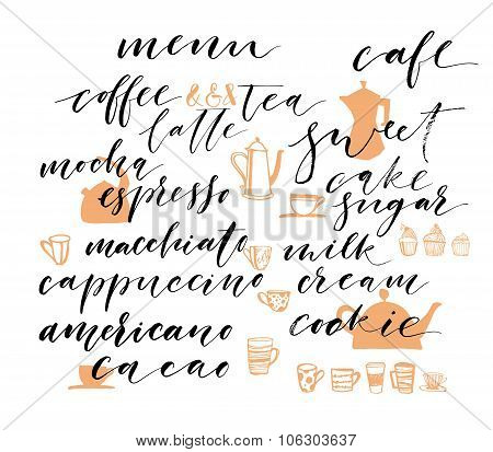 Hand Drawn Lettering.collection Of Words Of Coffee.