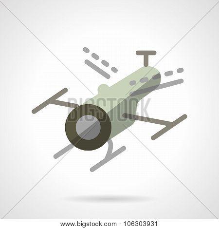 Surveillance drone flat vector icon