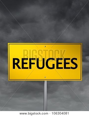 Europe refugee crisis road sign