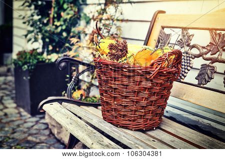 Woven Basket With Small Pumpkins