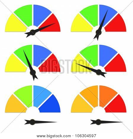 Set Colorful Speedometers