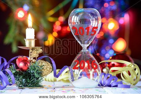 New Year 2016 concept with hourglass