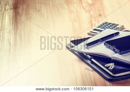 Business Concept With Agenda, Smartphone And Calculator